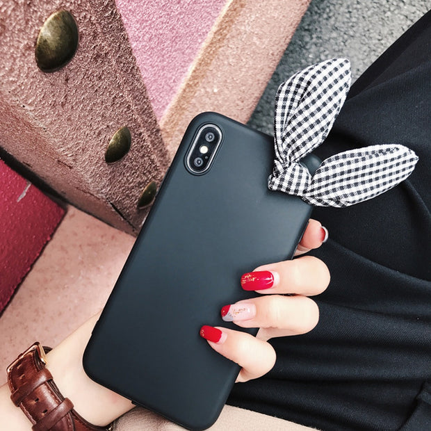 Abbery3D Rabbit Bow Bowknot Cute Funda Case For LG K8 2017/K10 2017/K8 2018/K10 2018 TPU Silicone Back Cover Coque Case For Lady