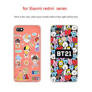 BTS BT21 Funny Anime Phone Case PC For Xiaomi Mi 8 8SE 5X 6x A2 Lite Pocophone F1 Mix 2s Max 2 3 64G Cover