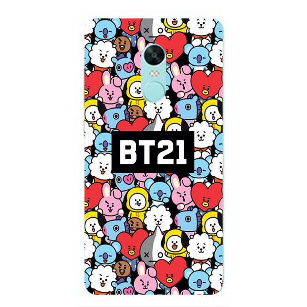 BTS Bangtan Boys Cartoon BT21 Paint Case For Xiaomi Redmi 5/5 Plus Note 4 4X 5A Pro Y1 Lite Cell Phone Printed Silicone Cover