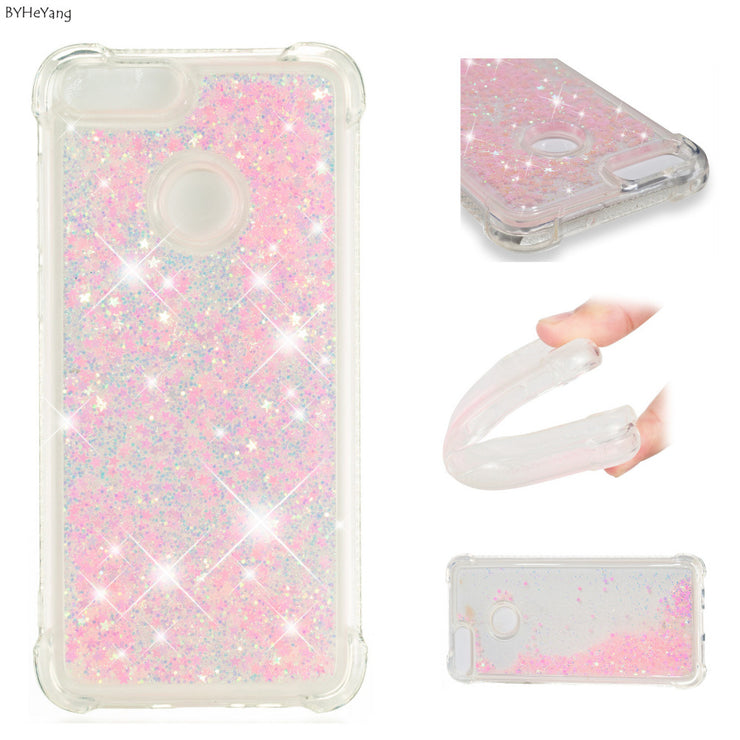 BYHeYang Dynamic Quicksand Liquid Case For Coque Huawei P Smart Case Bling Glitter Silicone Soft TPU Cover For Huawei Enjoy 7s