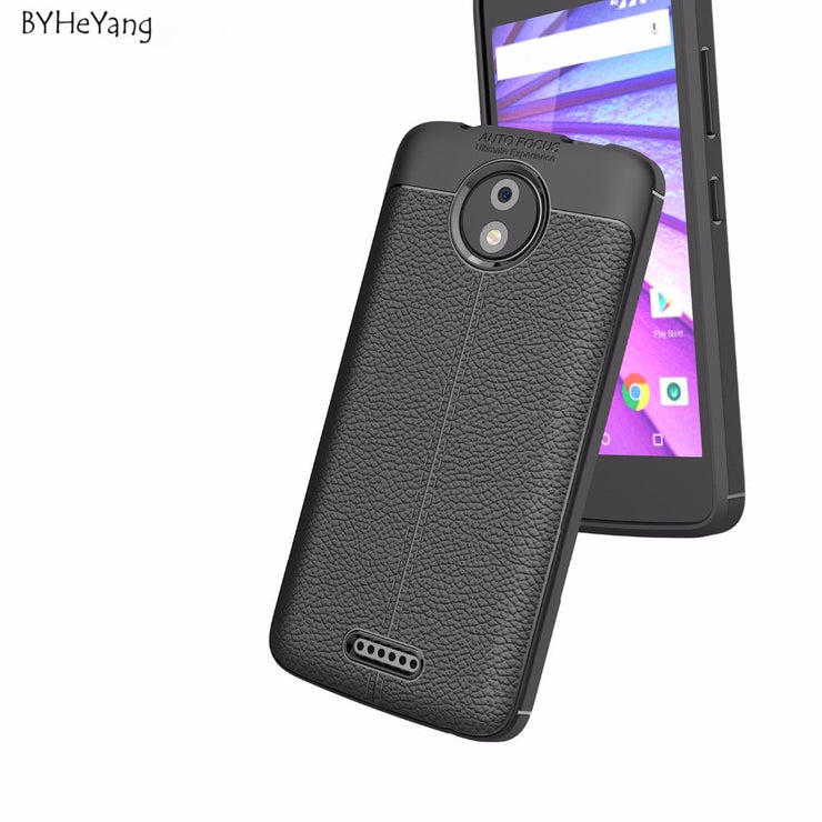 BYHeYang For Motorola Moto C Plus Case Litchi Pattern Silicone TPU Back Cover Soft Phone Case For Moto C Plus XT1723 XT1724