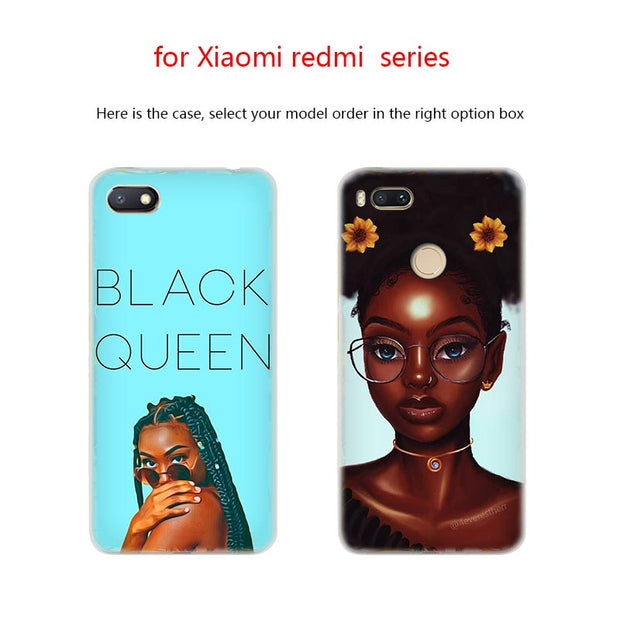 Beauty Afro Puffs Black Girl Anime Phone Case PC For Xiaomi Mi 8 8SE 5X 6x A2 Lite Pocophone F1 Mix 2s Max 2 3 64G Cover
