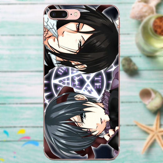 Best Black Butler Purple Highlights Cell Case For Apple IPhone 4 4S 5 5C 5S SE 6 6S 7 8 Plus X XS Max XR