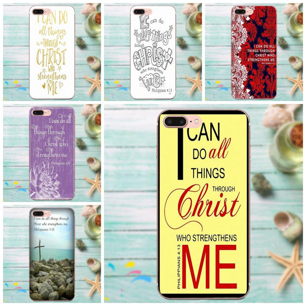Bible Verse I Can Do All Things Soft TPU Print Phone For Apple IPhone 4 4S 5 5C 5S SE 6 6S 7 8 Plus X XS Max XR