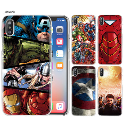 BinYeae Avengers Captain Hero Case Cover Clear Hard PC For IPhone XS Max XR 7 8 6 6s Plus X 5 5s SE 5C 4 4S