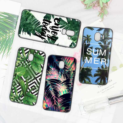Black Soft Silicone Phone Case Summer Palms Trees Alohas Chill For Samsung Galaxy J8 J7 J6 J5 J4 J3 Plus 2018 2017 2016