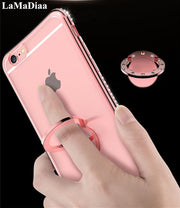 Bling Diamond Plating Edge Soft TPU Transparent Case For Iphone 6 6s 7 8 Plus XR Xs Max With Ring Bracket Ultra Thin Cover Case