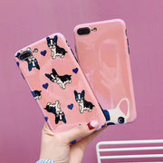 Blu-ray Lovely Bull Dogs Case For IPhone X 7 6 6S 8 Plus Soft Cartoon Cute Animal Pink Bulldog IMD Glossy Phone Cases Cover Capa