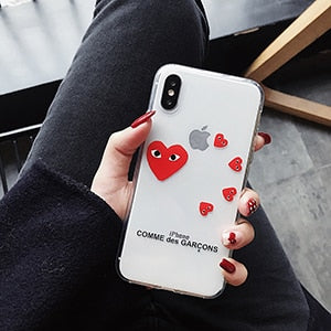 best sneakers 5f032 58fc7 CDG PLAY Comme Des Garcons Case Love For Iphone 6 6S Plus 7 7plus 8 8plus X  XR XS Max Transparent Cute Protect Shell Phone Case