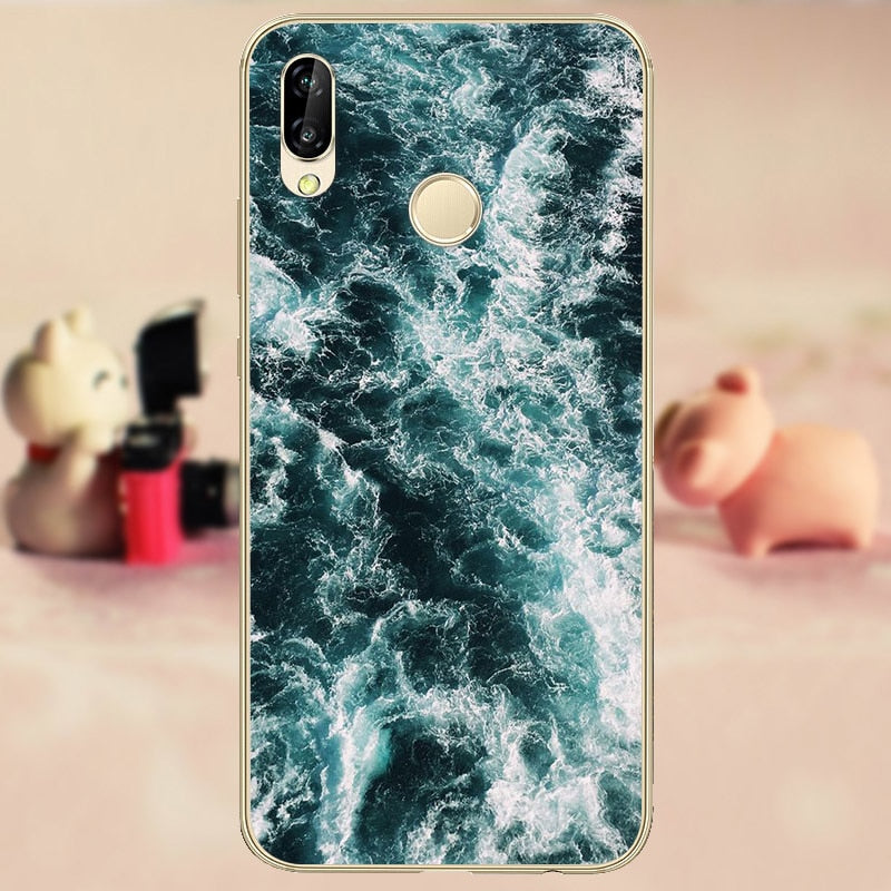 "CROWNPRO Funda 5.84"" Huawei P20 Lite Case Silicone TPU Nova 3e Soft Back Cover Clear Huawei P20 Lite Phone Case Cartoon"