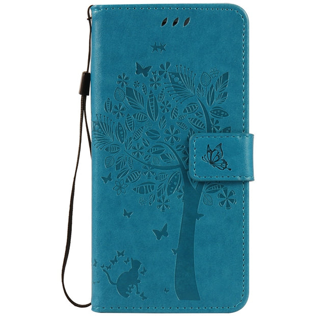 Capa For Apple Iphone 4 5 6 7 Plus Tree Cat Pattern Wallet Flip Leather Case For Iphone 4s 5s 6s 7 Plus Protective Cover Coque