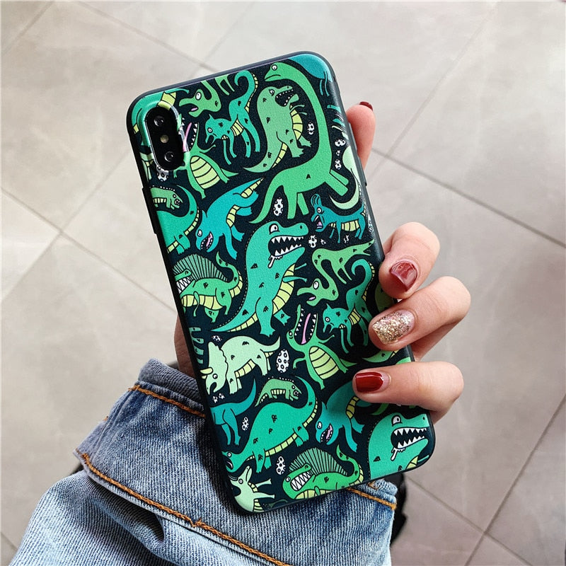 Cartoon Dinosaur Painting Phone Case For Iphone X XR XSMax Case For Iphone 6s 6 8 7 Plus XS Cover Fashion Matte Soft Cases Capa
