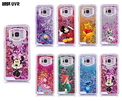 Cartoon Liquid Case For Samsung Galaxy S7 Edge S8 S9 Plus Note8 9 Mickey Minnie Mouse Mermaid Quicksand Soft Silicone TPU Cover