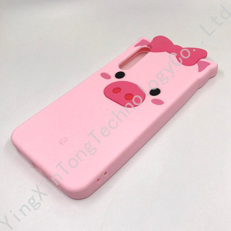 Cartton Cute 3D Pink Pig Bow Beard Cat Pattern Case For Huawei P20 PRO Capa Soft Silicone Cover P20 Plus Glitter Phone Back Skin