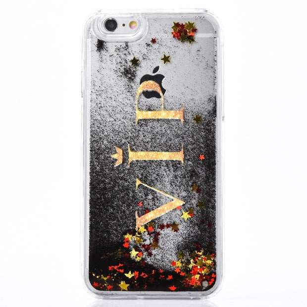 Case For IPhone X 7 8 Plus Skull Black Liquid Quicksand Shockproof Love Sequins Soft TPU Phone Case For IPhone 5 5s 6 6s Plus