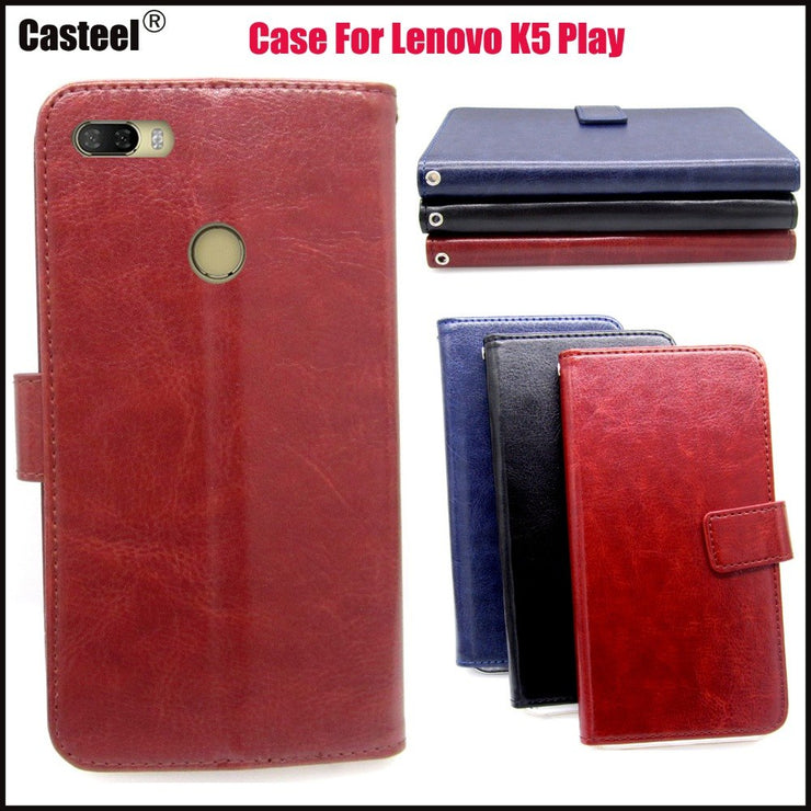 Casteel Classic Flight Series High Quality PU Skin Leather Case For Lenovo K5 Play Case Cover Shield