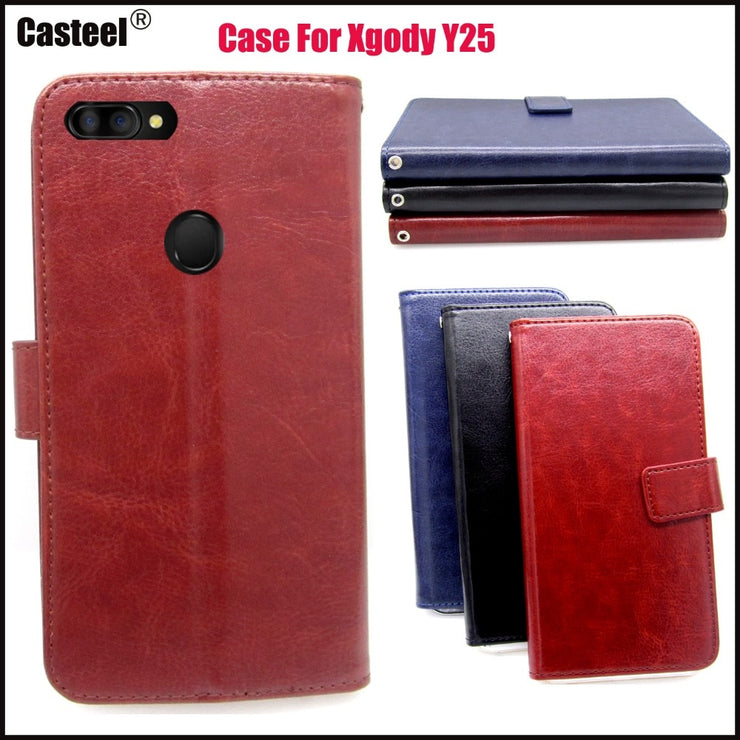 Casteel Classic Flight Series High Quality PU Skin Leather Case For Xgody Y25 Case Cover Shield