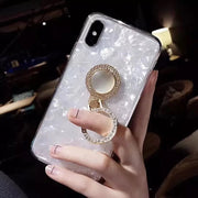 Conch Grain Cell Case For IPhone X 7 8 6 6s Plus Foldable Rhinestones Finger Ring Phone Cover For IPhone XS Max XR Back Case
