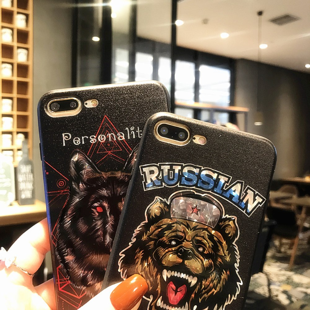 Cool Bear Wolf Skull Dog Soft Phone Case For IPhone X 7 6 6S 8 Plus Soft Cartoon Bling Sparkle Animal Phone Cases Cover Coque