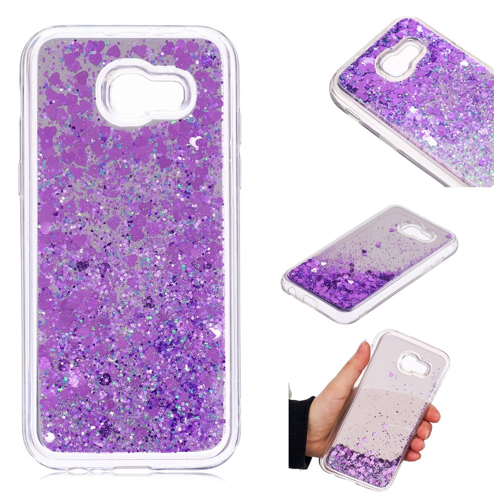 "Cover For Samsung Galaxy A5 2017 A520 A520F 5.2"" Phone Case Mirror Style Dynamic Liquid Quicksand Shine Glitter Protection Shell"