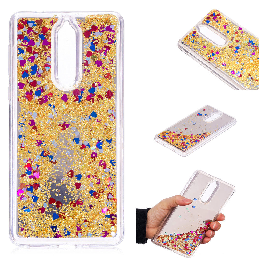 "Cover Phone Case For Nokia 8 Eight Nokia8 5.3"" Shine Glitter Mirror Luxury Design Dynamic Liquid Quicksand Shell Protective Bag"
