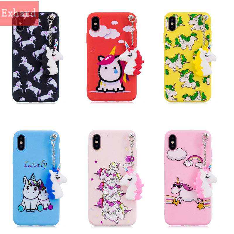 Cute 3D Doll Unicorn Soft Case For IPhone X 8 8 Plus 7 7 Plus 6 6s 6 Plus Pendant Silicone Case Back Cover Fundas Coque