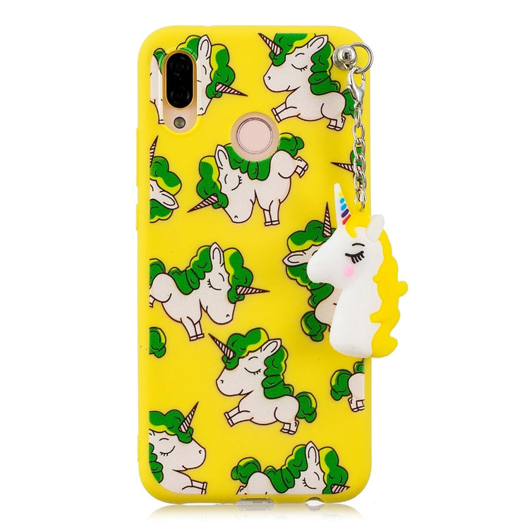 Cute 3D Pendant Doll Unicorn Silicone Soft Case For Huawei P20 P20 Lite P10 P10 Lite P8 Lite 2017 Case Back Cover Fundas Coque