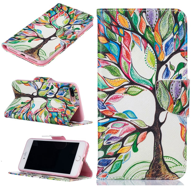 Cute Cartoon Colourful Tree Card Slot Wallet Case Flip Leather Cover Case Holster For Apple IPhone4 5 5c 6 7 8 X Plus XR XS Max