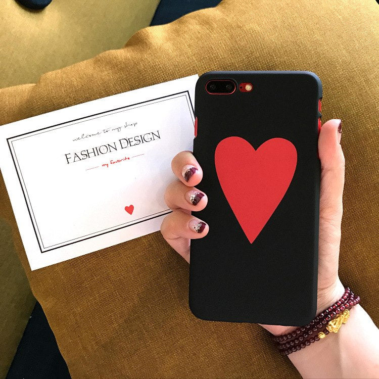Cute Cartoon Love Heart Phone Case For IPhone 7 8 Plus Fashion Red Hard PC Cases Back Cover Coque For IPhone X 6 6S Plus