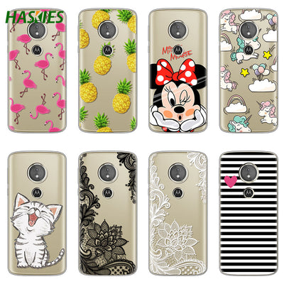 Cute For Motorola Moto G6 Play Case 5.7 Inch Soft TPU Cartoon Painted For Moto G6 Play Case Cover Coque Transparent Clear Bags