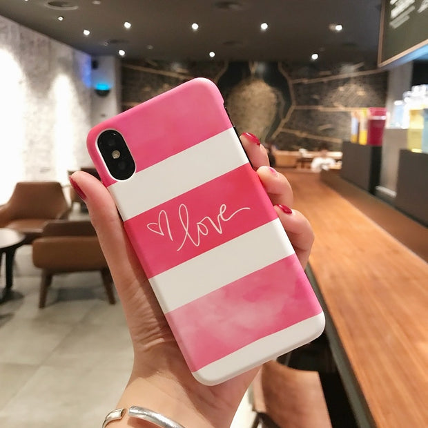 Cute Pink Love Lovers Marble PC Hard Plastic Phone Case Cover Fundas Coque For Iphone 6 S 7 7Plus 6S 6Plus 8 8Plus X 5 S 5S SE