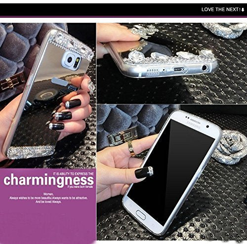 Diamond Glitter Bling Soft Shiny Sparkling With Glass Mirror Back Cover Case For SAMSUNG GalaxyN3 N4 N5 A3 A5 A7 J5 J7 A510 A710