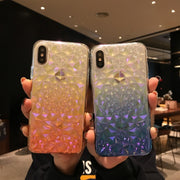 Dir-Maos For IPhone Xs Case X 8 Plus 7 Plus 6 6s Plus Changing Colors 3D Diamond Design Soft Back Cover Fashion Women Girl Cute