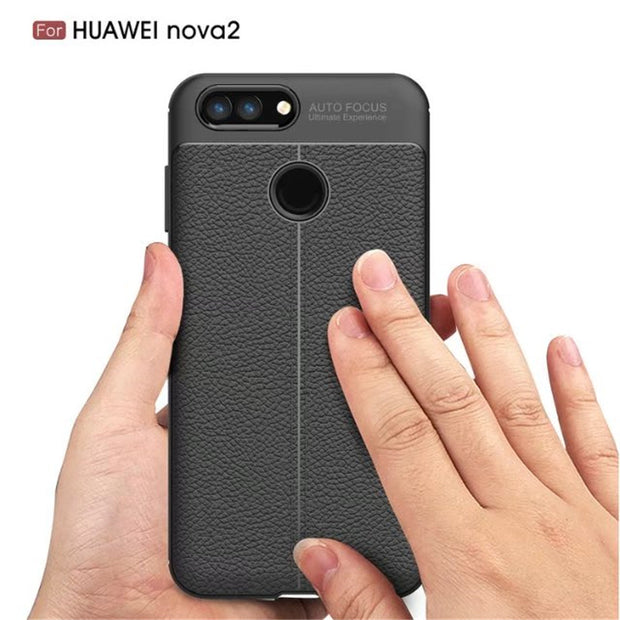 ELAIDE For Coque Huawei Nova 2 Phone Case Slim Silicon Leather Texture For Huawei Nova 2 Plus Cover Soft Phone Protective Cases
