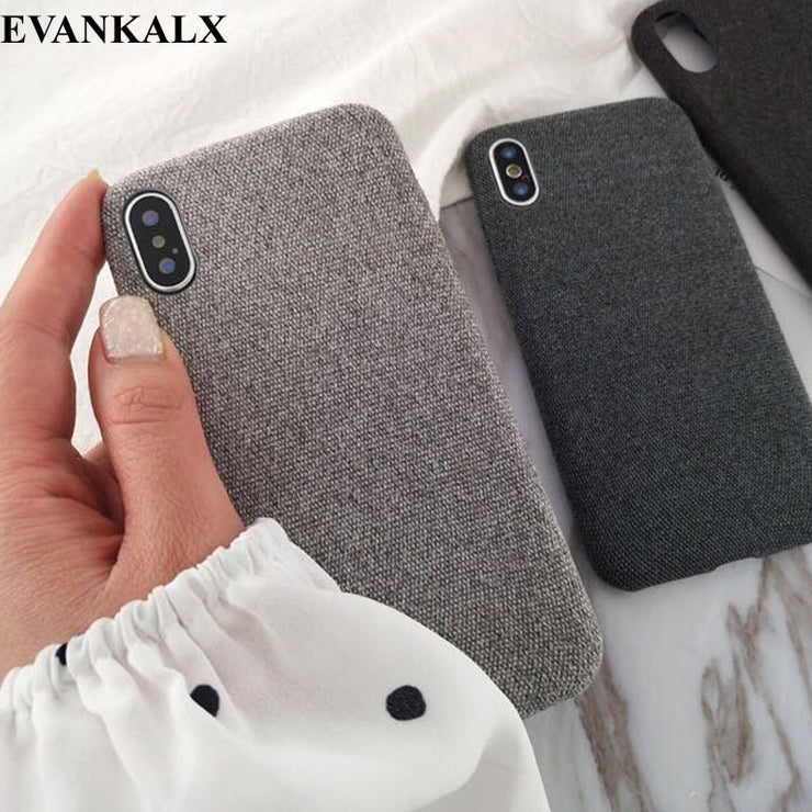 EVANKALX Cloth Texture Soft TPU Case For IPhone 7 8 Case Ultra-thin Canvas Silicone Phone Cases For Iphone 6 6S 7 8 Plus X