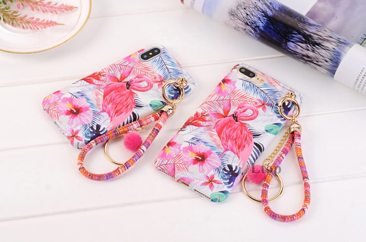 EVANKALX Flower Phone Case With Lanyard For IPhone 6 6s Plus Scrub Antidrop Hard Coque Funda Flamingo Cover For IPhone 7 8 Plus