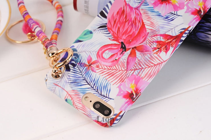 EVANKALX Lanyard Phone Case For IPhone X Scrub Antidrop Hard Coque Funda Leaves Flamingo Back Cover For IPhone 6 6s 7 8 Plus