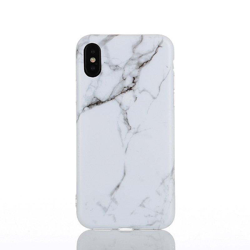 EVANKALX White Pink Phone Case For IPhone 6 6s Scrub Marble Stone Image Painted Silicone Phone Case For IPhone 7 8 6/7/8 Plus X