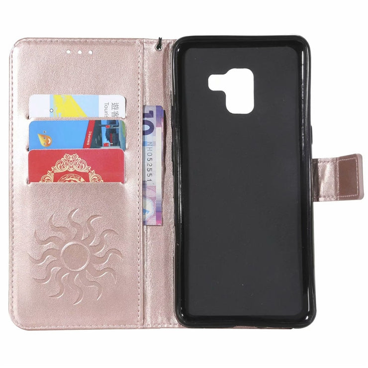 Embossed Leather Case For Samsung A8 2018 S4mini S9 Plus S8 G530 G360 Note3 S3 4 5 Coque Wallet Inserting Card Stand Cover Strap