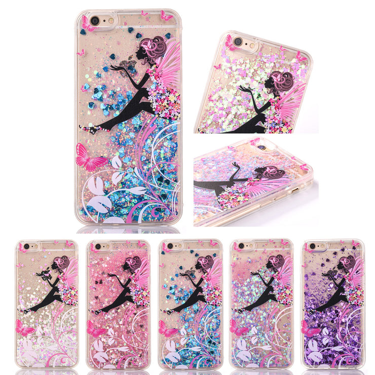 FQYANG Butterfly Girl Patterned Dynamic Liquid Quicksand Soft TPU+PC Phone Case For IPHONE XS X 8 7 6 8PLUS 7 PLUS 6P Back Cover