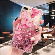 FQYANG Peach Blossom Perfume Patterned Dynamic Liquid Quicksand Transparent Phone Case For OPPO R17 R15 PRO R17PRO K1 R15X A7