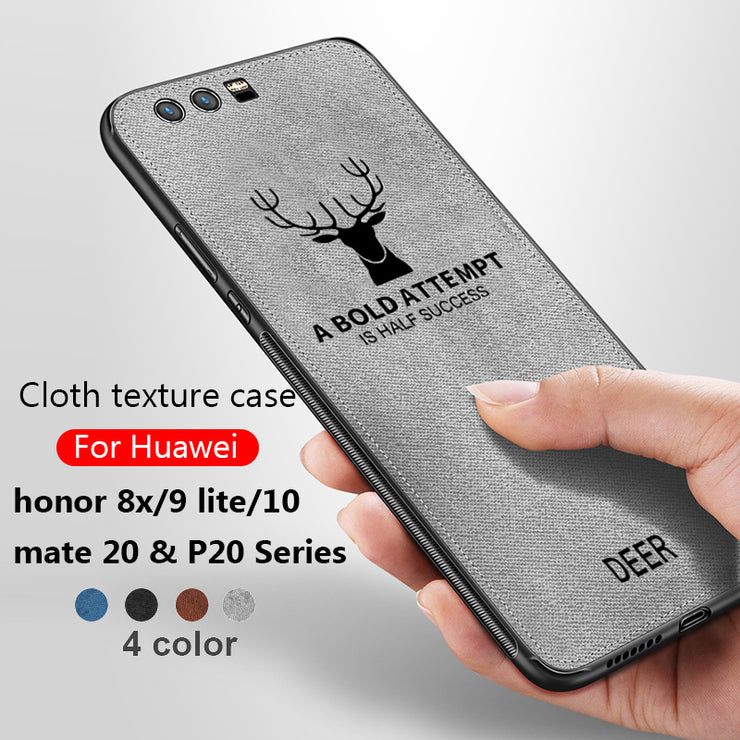 Fabic Cloth Phone Case For Huawei Honor 8x 9 Lite 10 Back Covers Silicone  Edge Shell Mate P 20 Lite Pro X Honor10 9 Light Copue