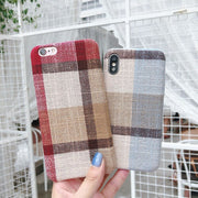 Fashion England Plaid Phone Case For IPhone 7 Case For Iphone X 6 6S 8 Plus Grid Geometric Pattern Cover Retro Cases Coque