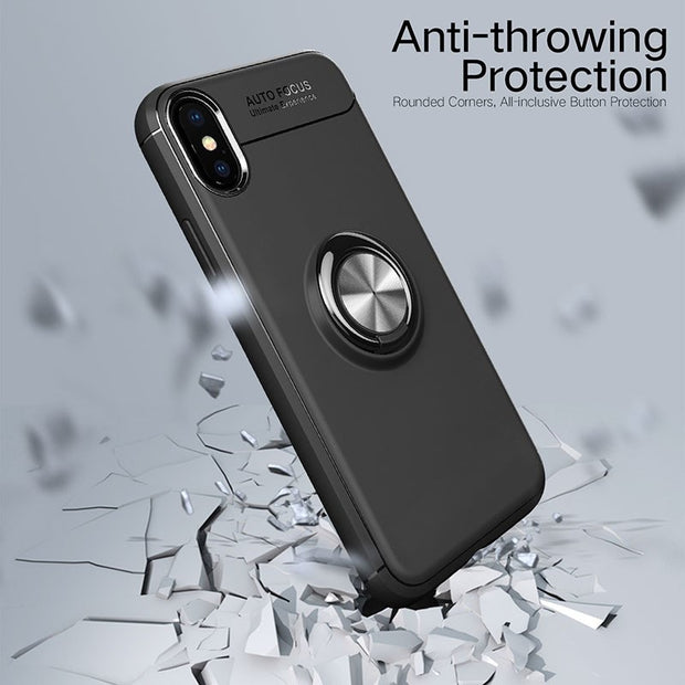 Fashion Finger Ring Kickstand Case For IPhone X 8 7 6 6s Plus Cover Shockproof Armor Magnetic Suction Bracket Cases TPU Shell