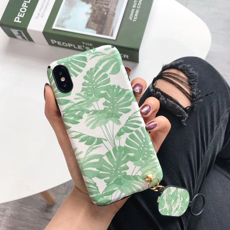 Fashion Green Leaf Silk Lucky Pattern Phone Cases For IPhone X 8 7 6 6S Plus Capa Soft TPU Cover Back Case Cute Ring Pendant