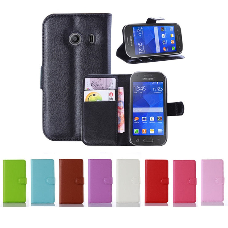 e333a3b422d Fashion Litchi PU Leather Flip Case For Samsung Galaxy Ace Style G310 SM-G310HN  Cover