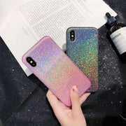 Fashion Luxury Leather Glitter Case For IPhone X 8 8Plus 6 6s 7 Plus Phone Cases Lovely Sexy Sequin Bling Laser Cover Capa Coque