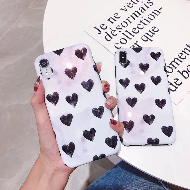 Fashion Wave Point Love Heart Star Phone Case For Iphone 6 6s 7 8 Plus Shining Pearl Effect Soft Case For IPhone X XS MAX XR