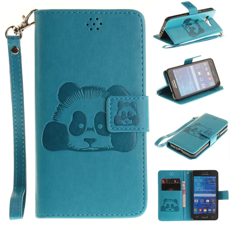 pretty nice 4161f b85bf Flip Cover Fundas For Samsung Galaxy Grand Prime G530 Case Coque Embossed  Print 3D Panda Designer Leather Wallet Stand Lanyard