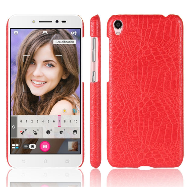 For Asus Zenfone Live ZB501KL Luxury Crocodile PU Leather Skin Hard Plastic Back Cover Protective Phone Case